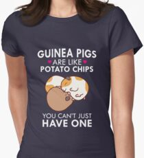 Guinea Pigs Are Like Potato Chips Funny Quote Cute  Women's Fitted T-Shirt
