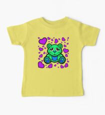 Love Teddy Bear Green and Purple  Baby Tee