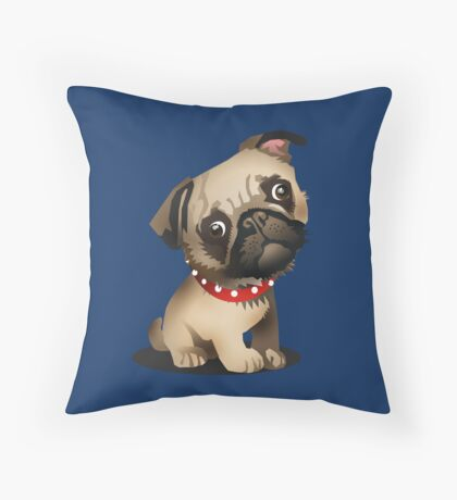 Pug pup Throw Pillow