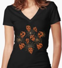 Orange Leaves With Holes And Spiderwebs Women's Fitted V-Neck T-Shirt