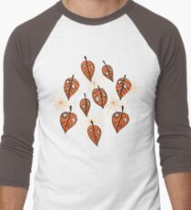 Orange Leaves With Holes And Spiderwebs Men's Baseball ¾ T-Shirt