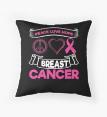 Peace Love Hope Breast Cancer | Pink Ribbon Throw Pillow