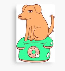 Yellow Dog On The Retro Telephone Canvas Print