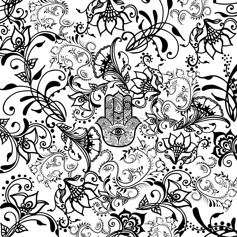 Black white henna hamsa floral pattern by Maria Fernandes