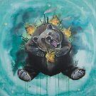 Lice in the fur - bear, Gaia, mother Earth by Lisbeth Thygesen
