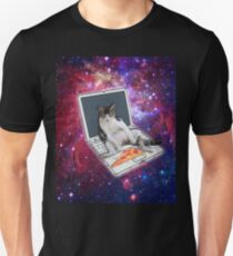 Sitting Cat on the Laptop Pizza in the space galaxy T-Shirt