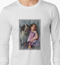 Little girl with pet dog, colorized T-Shirt
