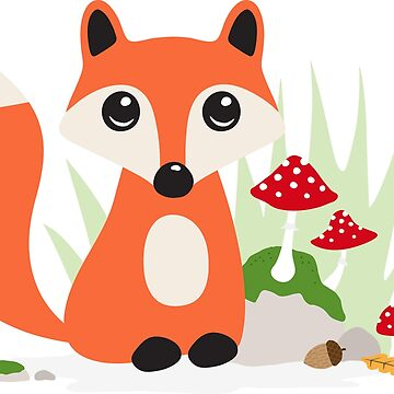 Fox with toadstool mushrooms sticker by MheaDesign