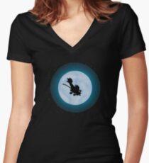 Calvin Hobbes Moon Women's Fitted V-Neck T-Shirt