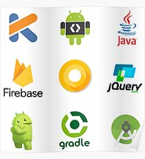 Android Developer Stickers - 9 stickers in 1 design Poster