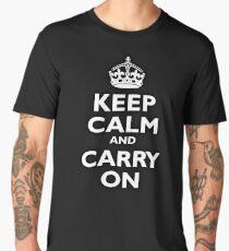 KEEP CALM, Keep Calm & Carry On, Be British! Blighty, UK, United Kingdom, white on black Men's Premium T-Shirt