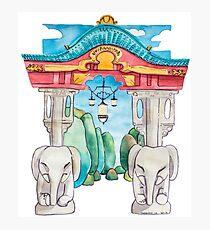 Elefantentor aus Berlin Tiergarten in Aquarell illustriert Fotodruck