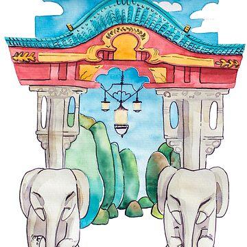 Elefantentor aus Berlin Tiergarten in Aquarell illustriert von farbcafe