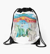 Elefantentor aus Berlin Tiergarten in Aquarell illustriert Rucksackbeutel