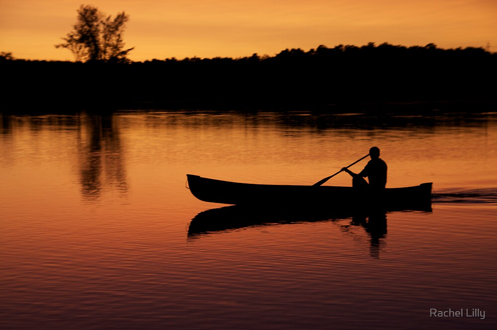 Canoe and Sunset  by Rachel Lilly