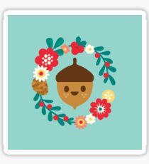 Acorn and Flowers Pattern Design / Blue Sticker