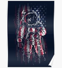 Astronaut Flag Poster