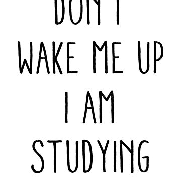 Don't wake me up, I am studying by ynotfunny