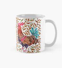 Le Coq - Aquarell Hahn mit Sepia-Blättern Tasse (Standard)