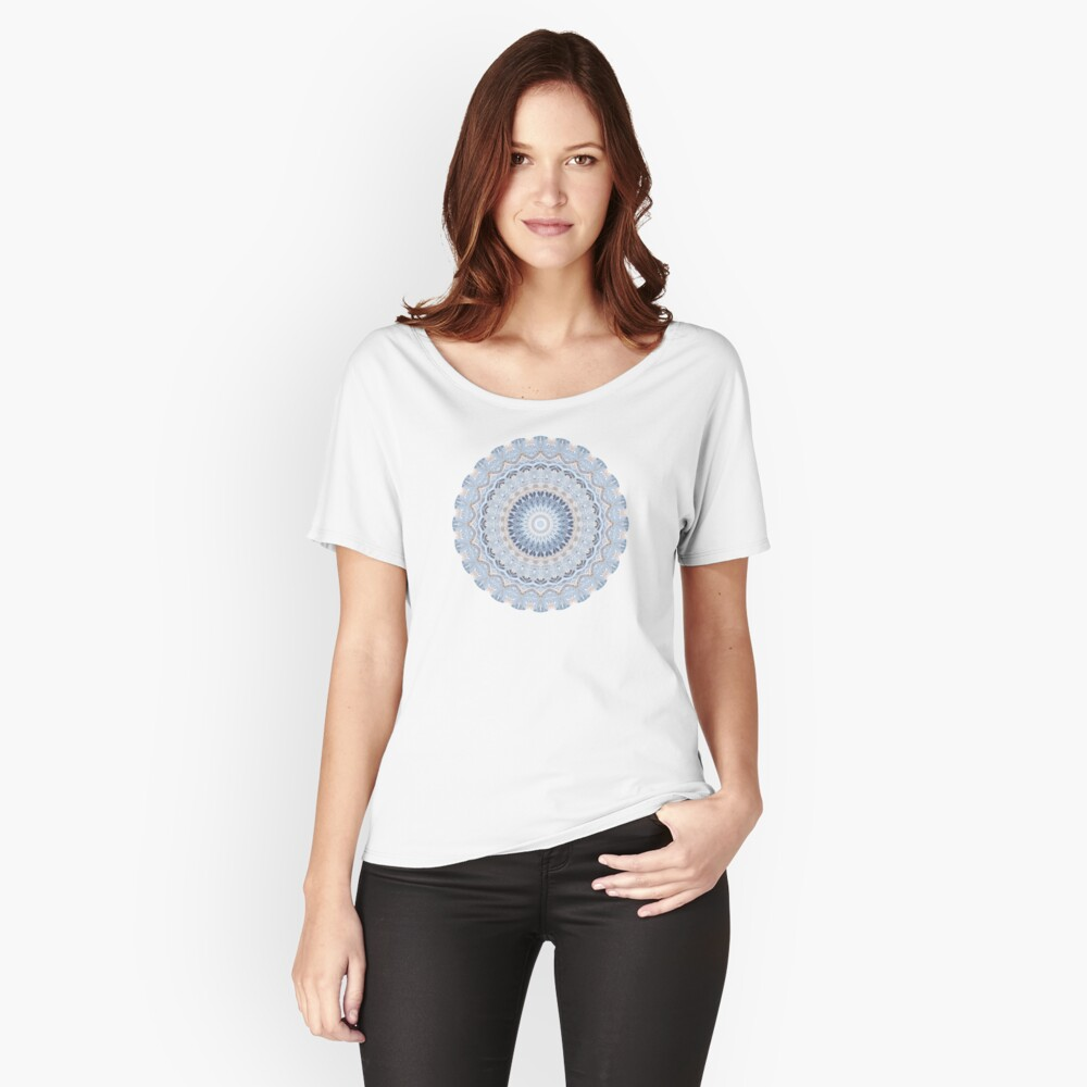 Serenity Mandala in Blue, White & Ivory Relaxed Fit T-Shirt