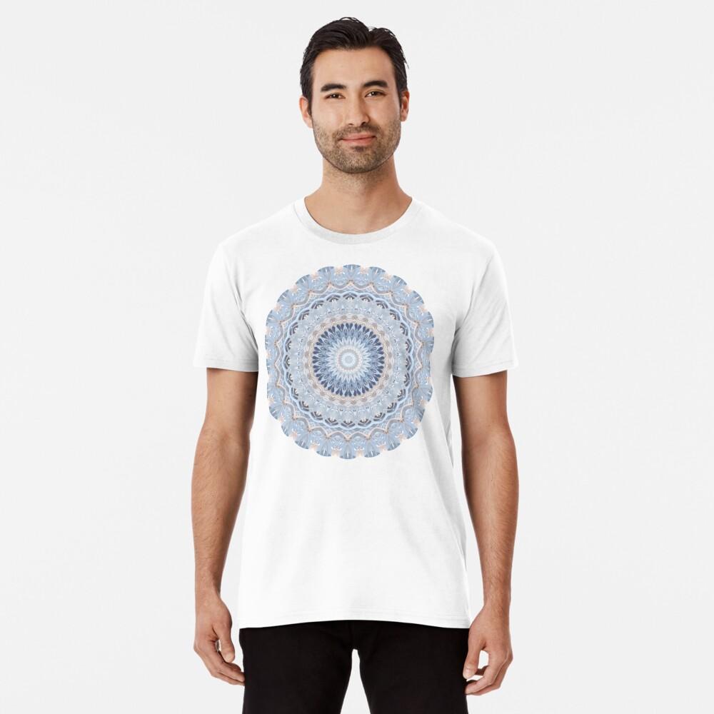 Serenity Mandala in Blue, White & Ivory Premium T-Shirt