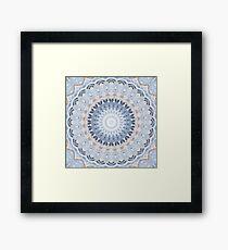 Serenity Mandala in Blue, White & Ivory Framed Print