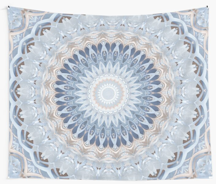 Serenity Mandala in Blue, White & Ivory by Kelly Dietrich