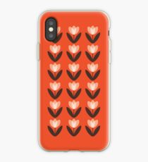 Tulip Pattern Phone Case in Coral Red iPhone Case