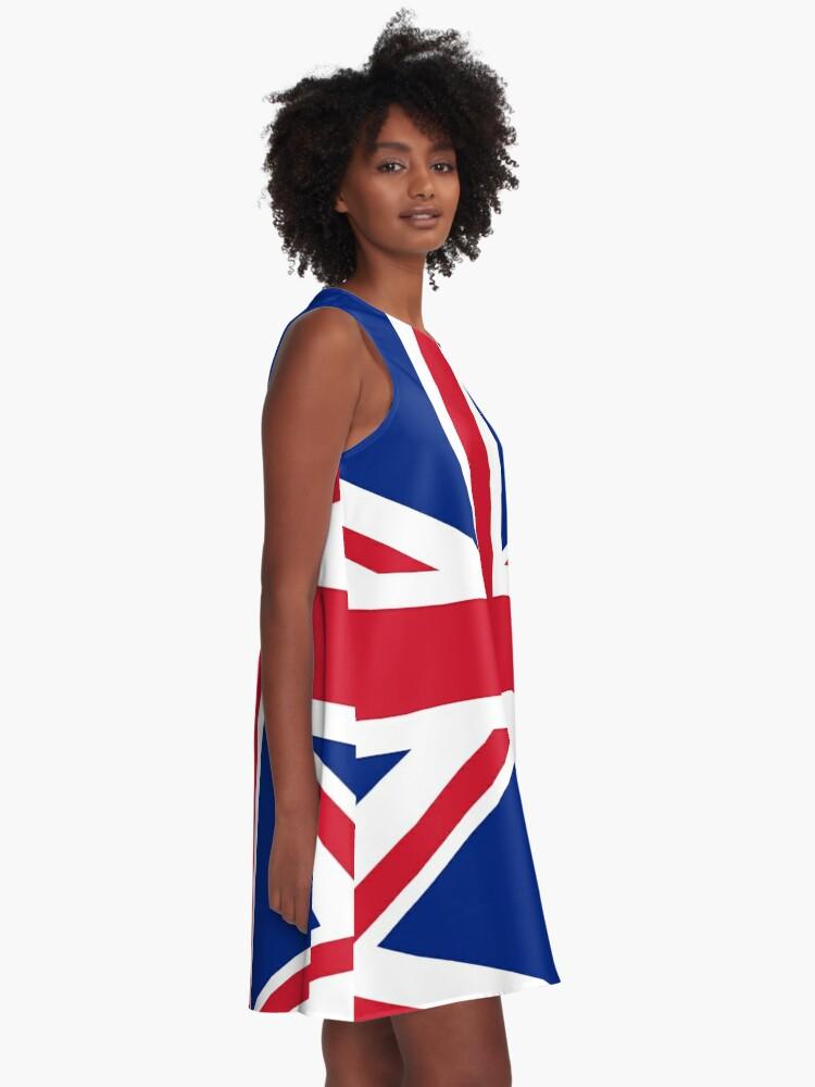 Alternate view of Union Jack, FULL COVER, British Flag, UK, United Kingdom, Pure & simple, 1:2. A-Line Dress