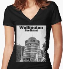 Wellington, New Zealand Women's Fitted V-Neck T-Shirt