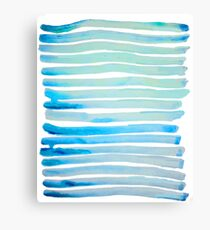 New Year Blue Water Lines Canvas Print