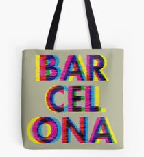 Barcelona Glitch Psychedelic Coolest City in Europe Tote Bag