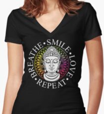 Buddhism - Breathe, Smile, Love, Repeat Women's Fitted V-Neck T-Shirt