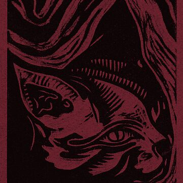 Linocut Portrait of a Cat by yvettebell