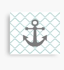 Abstract geometric pattern - blue and white - black anchor Canvas Print