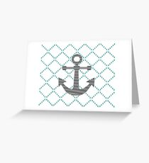Abstract geometric pattern - blue and white - black anchor Greeting Card