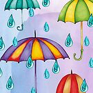 Watercolor umbrellas with raindrops on a blue background by ekvikoncey