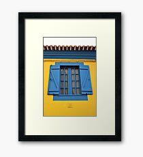Blue on Yellow Framed Print