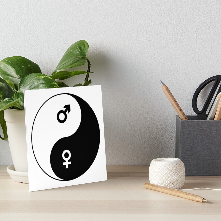 Female And Male Symbols Yin Yang Art Boards By Claudiocmb Redbubble