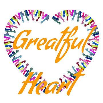 Greatful heart-hands beautiful print  by georgewaiyaki