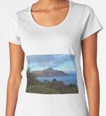 Holy Isle view Premium Scoop T-Shirt