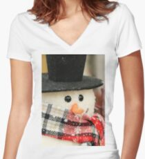 Frosty the Smugman Women's Fitted V-Neck T-Shirt