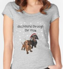 christmas dogs, dachshund Women's Fitted Scoop T-Shirt
