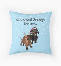 christmas dogs, dachshund Throw Pillow