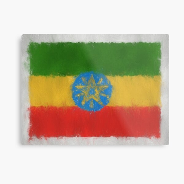 Ethiopia Flag Reworked No. 66, Series 3 Metal Print
