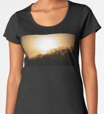 Golden Sunset in Overcast Sky Women's Premium T-Shirt