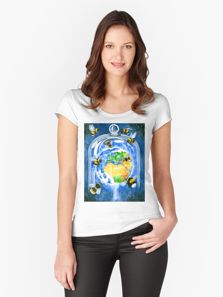 save the bees Women's Fitted Scoop T-Shirt Front