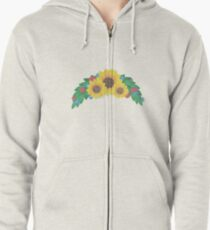 Sunflower Cluster Zipped Hoodie