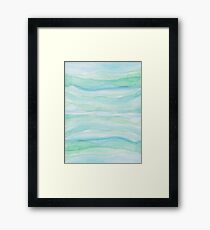 Watercolor Blue Green Agate Layers Framed Print