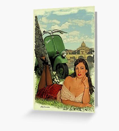 Vespa Pin Up Girl Greeting Card